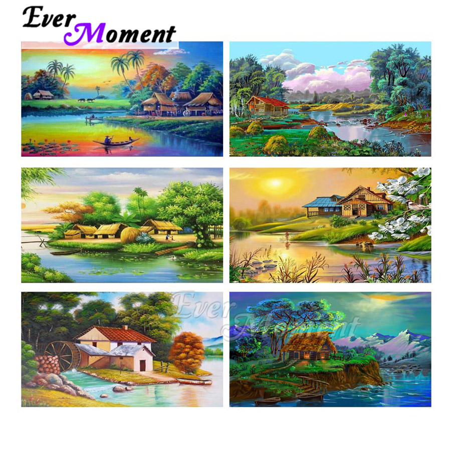 Ever Moment Diamond Painting Landscape House River Full Square Drill Picture Of Rhinestone 5D DIY Diamond Embroidery ASF1807