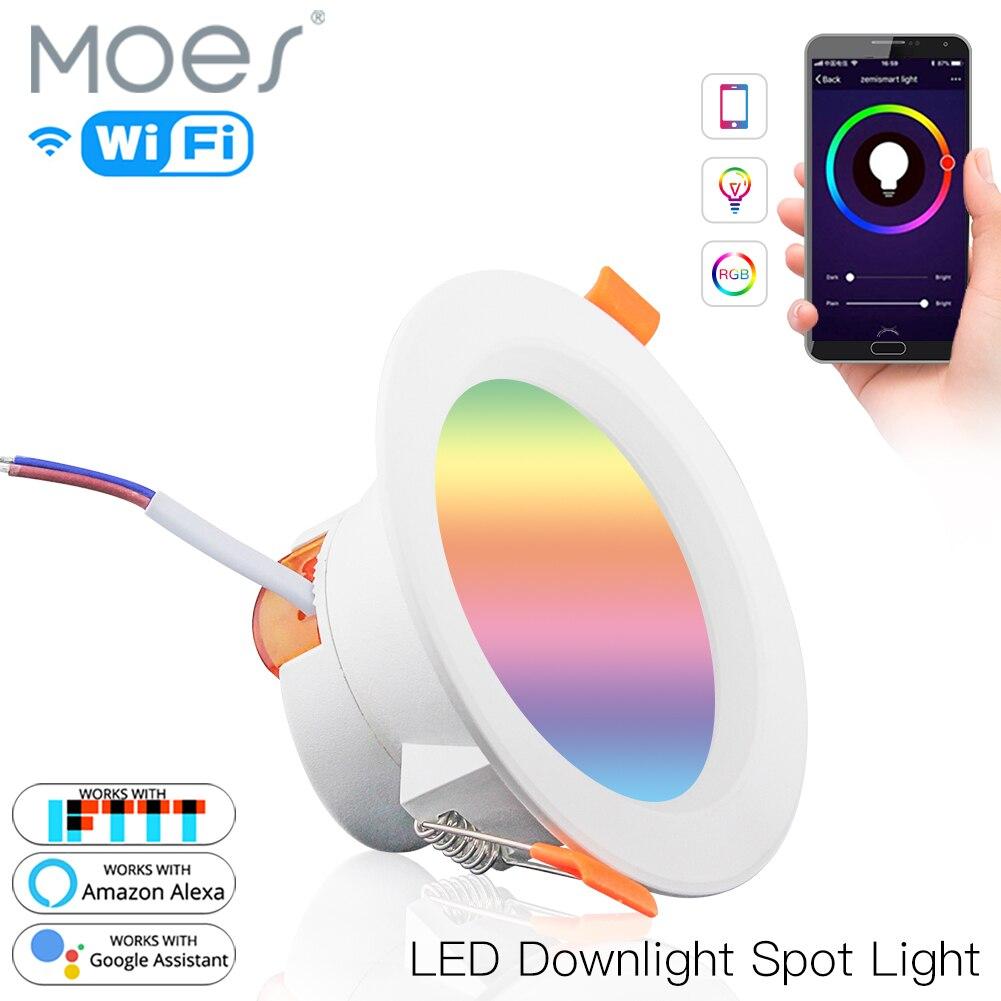 Luz baixa inteligente led, luz redonda brilhante mudando de cor rgb 7w 2700k-6500k quente fria luz funciona com alexa google home