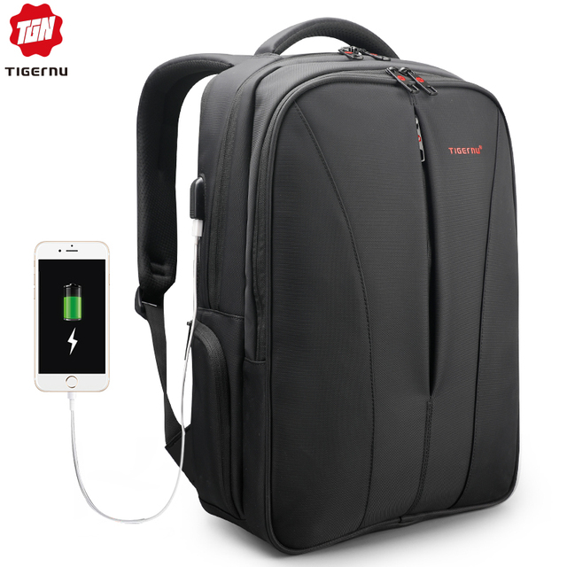 Tigernu Water Repellent Nylon Men Anti theft 15.6inch Laptop Backpacks Business USB Charger Computer Schoolbag Backpack for Boys