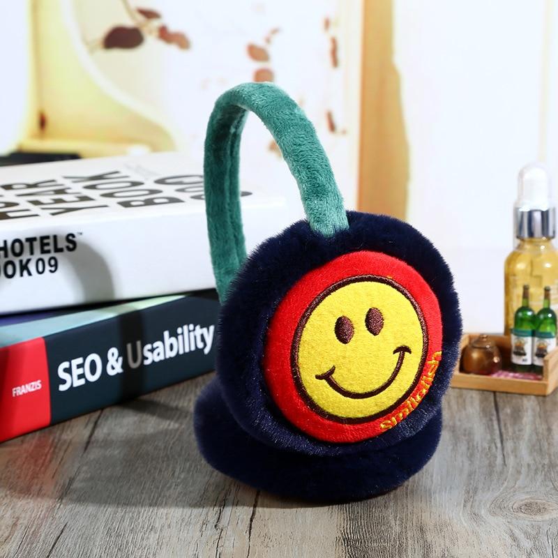New Smiley Earmuffs Children's Winter Warm Ear Warm Plush Cute Earmuffs Warm Cartoon Earmuffs