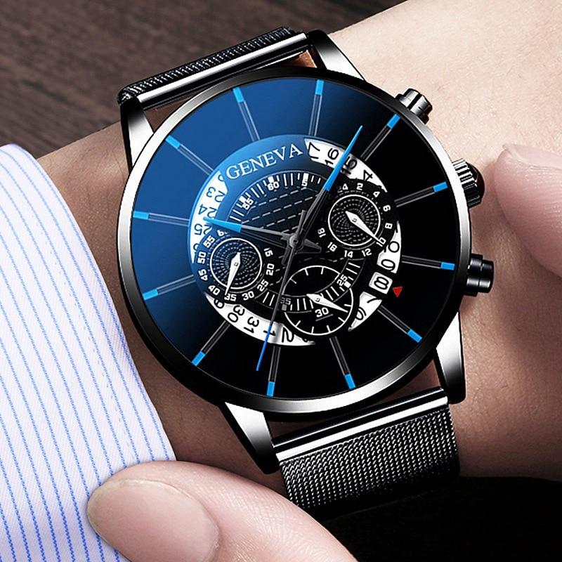 Luxury Hollow Out Men's Fashion Business Calendar Watches Blue Stainless Steel Mesh Belt Analog Quartz Watch Relogio Masculino