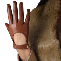 Fashion Women'S Black Touch Screen Leather Gloves Pure Sheepskin Hand Back Brown Short Driving Gloves TBLB02