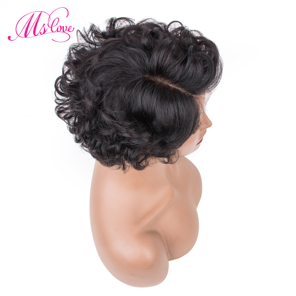 Short Curly Human Hair Wigs Remy Brazilian Lace Part Wig Human Hair Wigs 150% 6 Inch Wigs For Women