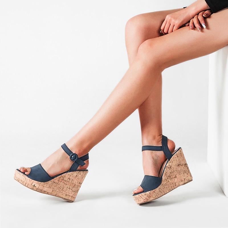 Women Sandals Leather Peep Toe Wedge Heels Cross-Strap Slingback Platform Shoes