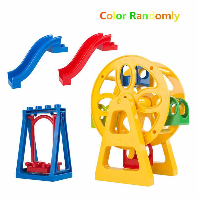 חשמלי קטר רכבת חלקיקים גדולים אבני בניין תא אביזרי תואם עם Duploed צעצועים לילדים מתנה