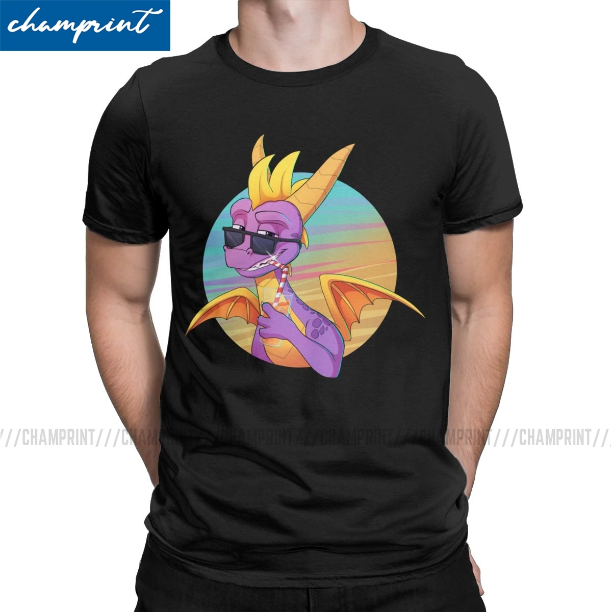Funny Summer Vibes T-Shirt for Men Round Neck T Shirt Spyro the Dragon Purple Dragon Game Tee Shirt Gift Idea Clothes image