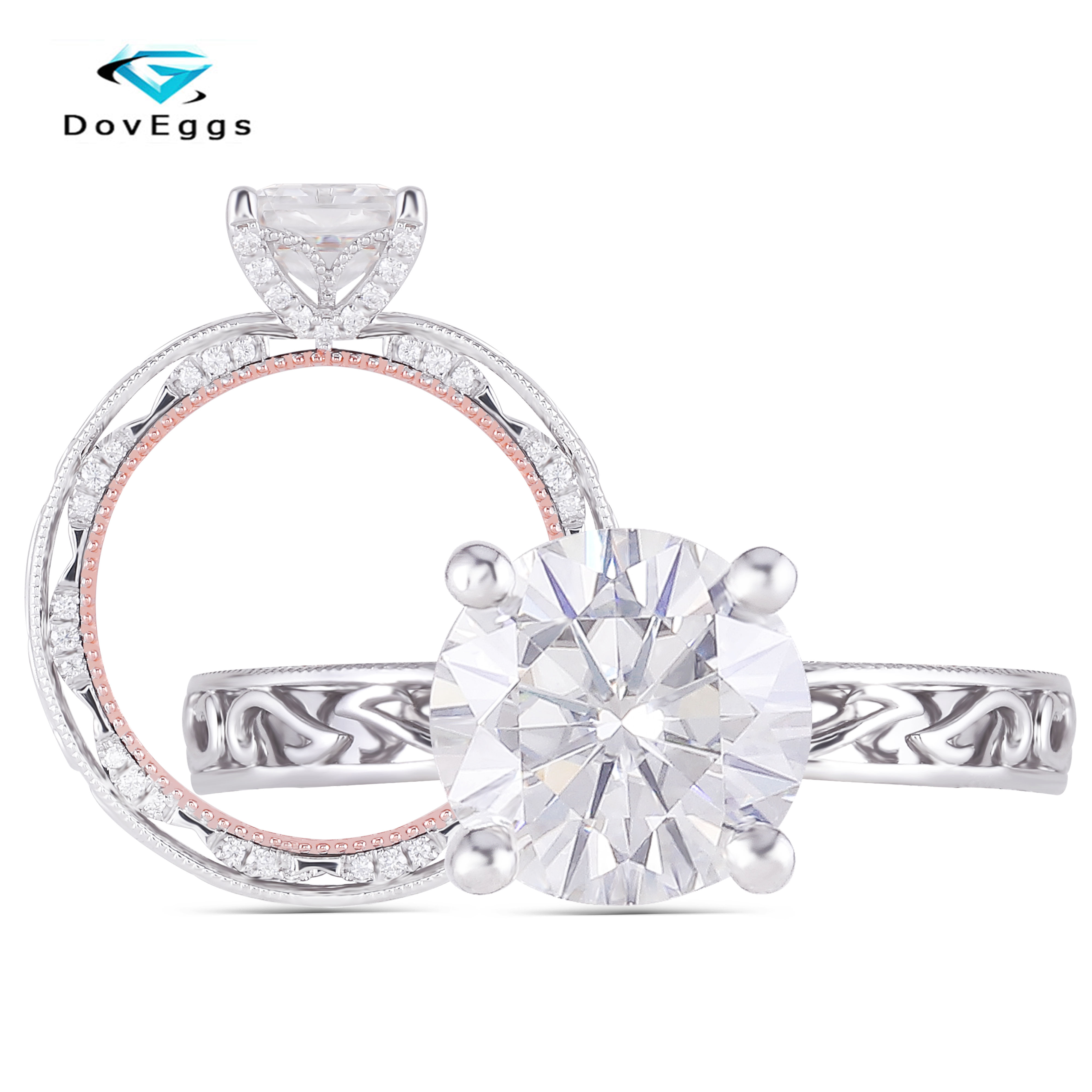 DovEggs 14K Two Tone White and Rose Gold Overlapped Band Center 1CT 6 5mm F GH Color Moissanite Wedding Women Ring with Accents in Rings from Jewelry Accessories