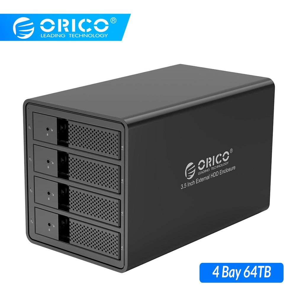 ORICO 4 Bay 3.5'' USB3.0 HDD Docking Station Support 64TB UASP With 150W Internal Power Adaper Aluminum SATA To USB 3.0 HDD Case
