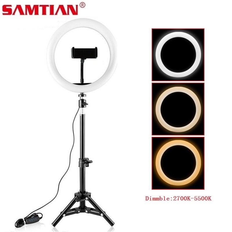 Samtian 10-дюймовый студийный кольцевой светильник для селфи 5500K с подставкой для штатива для макияжа Youtube Светодиодная настольная кольцевая ла...