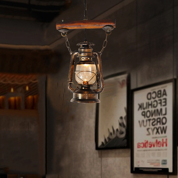 Artpad Chinese Style Rustic Kerosene Lamp Ceiling Hanging Light for Bar Restaurant Decoration Pendant with Glass Lampshade