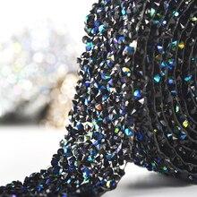 Стразы горячей фиксации хрустальные камни и Кристаллы Стразы Аппликация Пояс для свадебного платья, сумок одежды 1 ярд