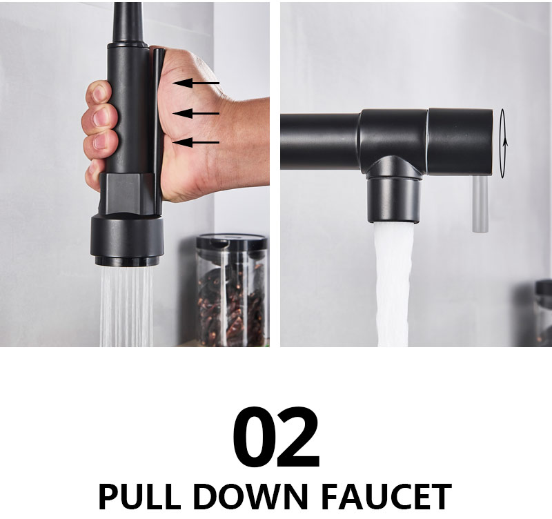 H93b08325b8964e67826af93d13e77084V Uythner Black Brass Kitchen Faucet Vessel Sink Mixer Tap Spring Dual Swivel Spouts Hot and Cold Water Mixer Tap Bathroom Faucets
