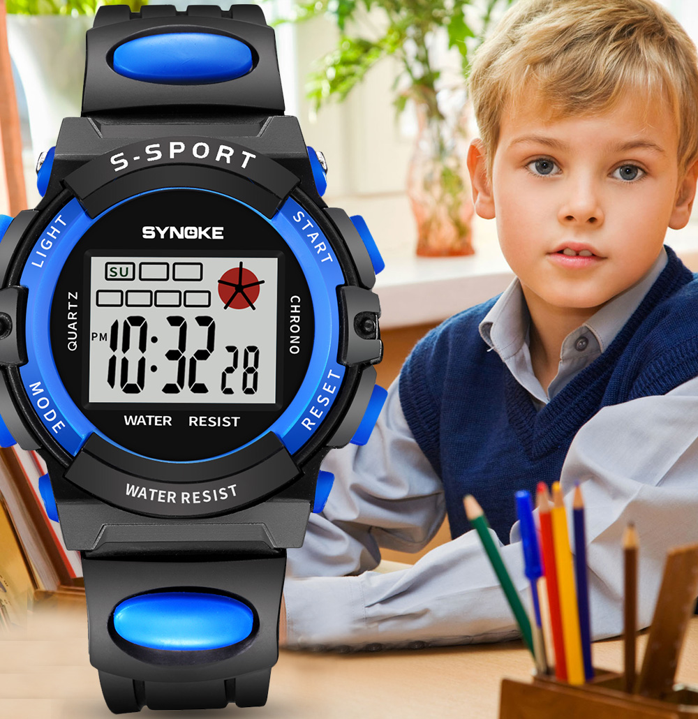 SYNOKE 2019 New Arrival Fashion Sports Kids Watches Blue Alarm 12/24 LED Lights Digital Wristwatches For Boys Girls Students