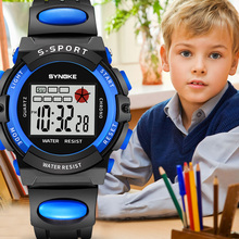 SYNOKE 2019 New Arrival Fashion Sports Kids Watches Blue Alarm 12/24 LED Lights