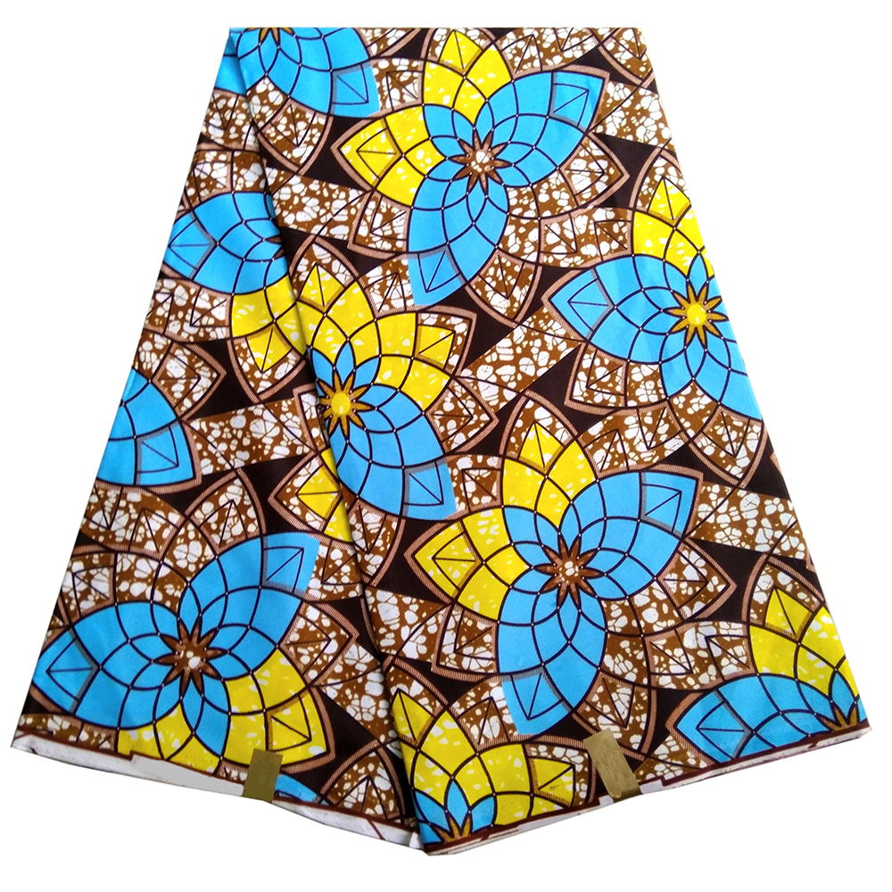 2019 Style Nigerian Dutch Wax Fabric African Polyester Colorful Geometric Pattern Printing Ankara High Quality 6 Yards