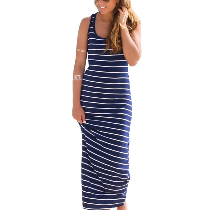 Summer Style <font><b>Women</b></font> <font><b>Striped</b></font> Boho Long Maxi <font><b>Sleeveless</b></font> <font><b>Beach</b></font> Vest <font><b>Dress</b></font> <font><b>Sexy</b></font> Ladies <font><b>Casual</b></font> <font><b>Dress</b></font> Vestidos image