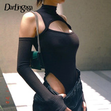 Darlingaga – Body moulant avec découpe pour femme, couleur unie, à la mode, épaules dénudées, tenue de soirée, une pièce