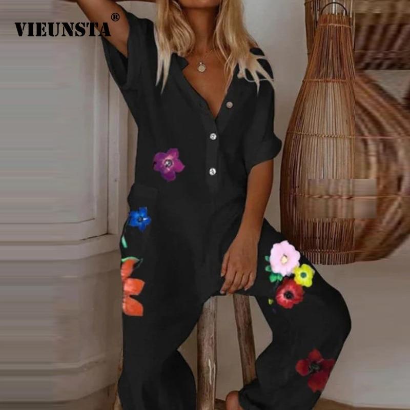 Women Jumpsuit Elegant Button V Neck Cotton Linen Jumpsuits 2020 Summer Printed Short Sleeve Loose Trousers Romper Sexy Bodysuit