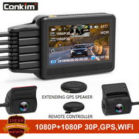 Conkim K2S cámara de salpicadero 2 cámaras 1080P Full HD con GPS + WIFI + cámara de velocidad DVR Novatek para coche Super condensador K1S versión de actualización