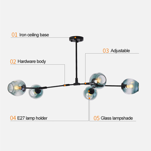 Image 4 - Vintage Loft Industrial Nordic Chandelier For Dining Kitchen Stair Black/gold Suspension Luminaire Modern Chandelier Lighting