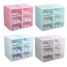 6 قطعة صندوق من البلاستيك للأحذية تكويم طوي أداة تنظيم الأحذية درج حقيبة للتخزين مع التقليب واضح باب السيدات الرجال 33.5x23.5x13cm