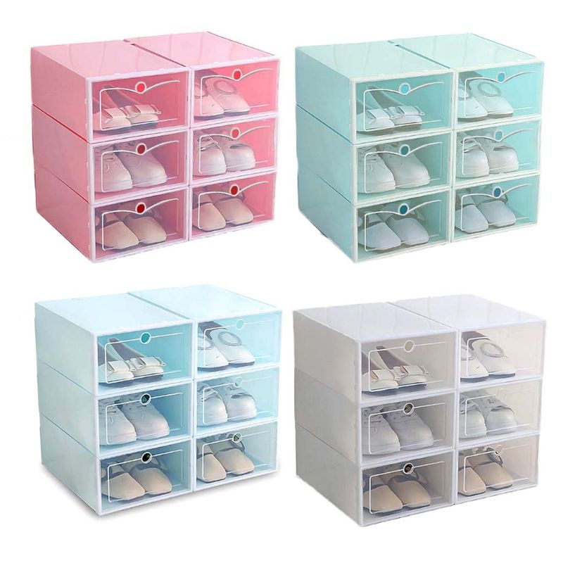 6Pcs Plastic Shoe Box Stackable Foldable Shoe Organizer Drawer Storage Case With Flipping Clear Door Ladies Men 33.5x23.5x13cm