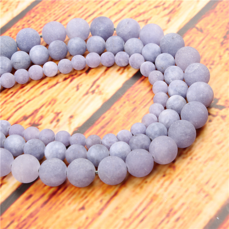 Frosted Purple Aquamarin Natural Stone Bead Round Loose Spaced Beads 15 Inch Strand 6/8/10/12mm For Jewelry Making DIY Bracelet