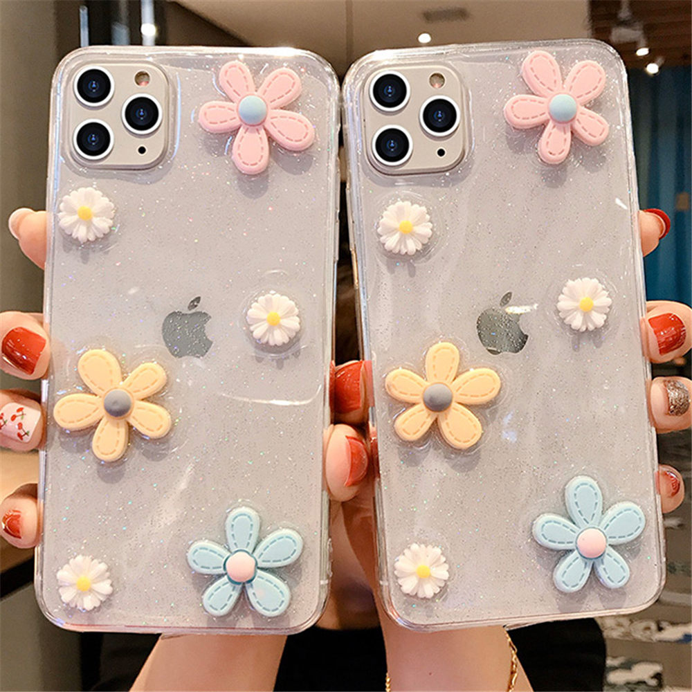 3D Flowers Glitter Phone Case For Iphone 11 Pro 7 8 6 6S Plus X XR XS Max Transparent Bling Soft TPU Silicone Back Cover