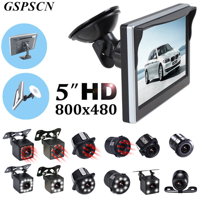 GSPSCN aide au stationnement de voiture 5 pouces moniteur de vue arrière voiture inversion caméra de recul LED tasse en caoutchouc infrarouge + support