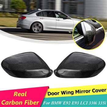 Carbon Fiber Rearview Side Wing Mirror Cover Cap For BMW E90 328i 335i 09-11