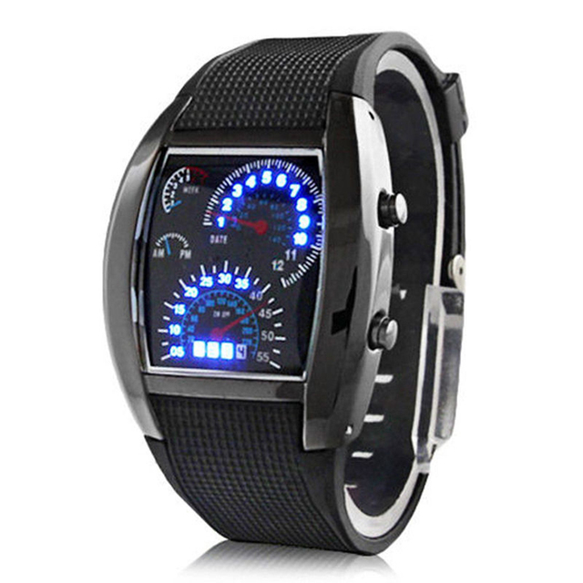 Men Fashion LED Sport Rubber Band Digital Week Date Dashboard Pattern Dial Watch Mas-culino Fashion Men's Watch Large Dial Milit 1