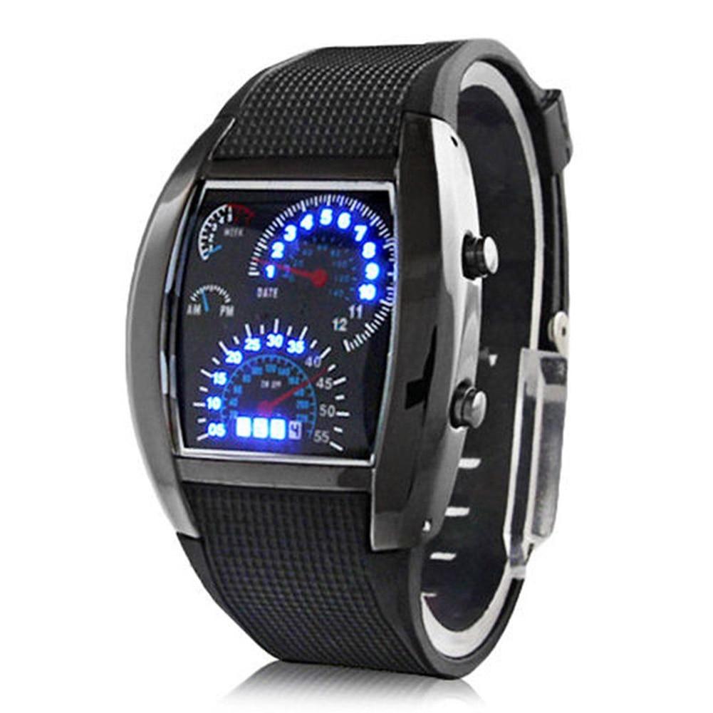 Men Fashion LED Sport Rubber Band Digital Week Date Dashboard Pattern Dial Watch Mas-culino Fashion Men's Watch Large Dial Milit