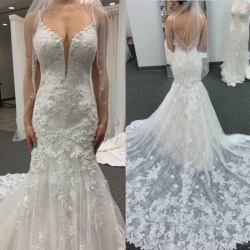 Vestido De Noiva Sereia Sexy Applique Lace Mermaid Wedding Dresses 2019 Spaghetti Strap Bride Wedding Gowns Robe De Mariee