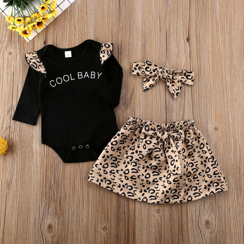 Imcute 2020 Toddler 3Pcs Baby Girl Cotton Headband Long Sleeve Letter Romper Tops Bowknot Princess Leopard Print Skirt 0-18M
