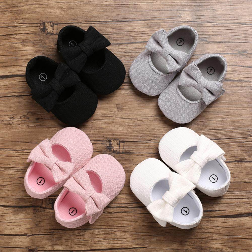Autumn Spring Baby Shoes Girls Bowknot Anti-slip Soft Sole Sneakers Prewalker Princess Flat Shoes Fashion