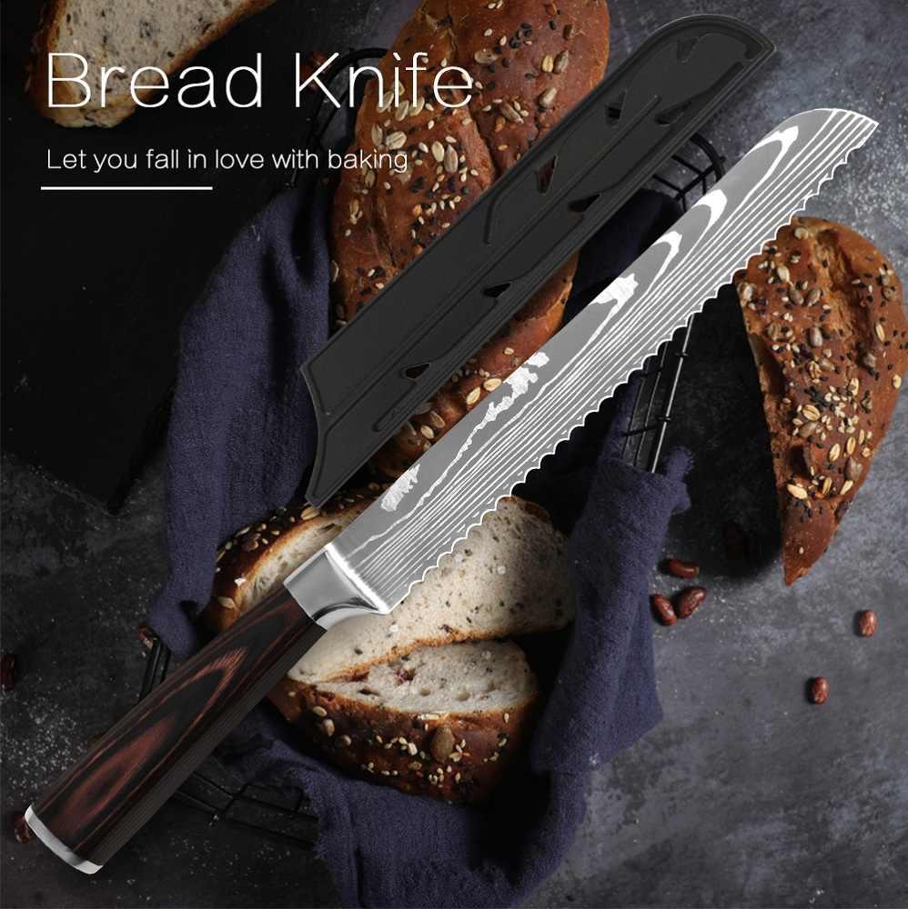 8 cal kuchnia nóż do chleba ząbkowany Design Laser damaszek ze stali nierdzewnej ostrze ze stali noże szefa kuchni sernik wycinarka nóż do chleba