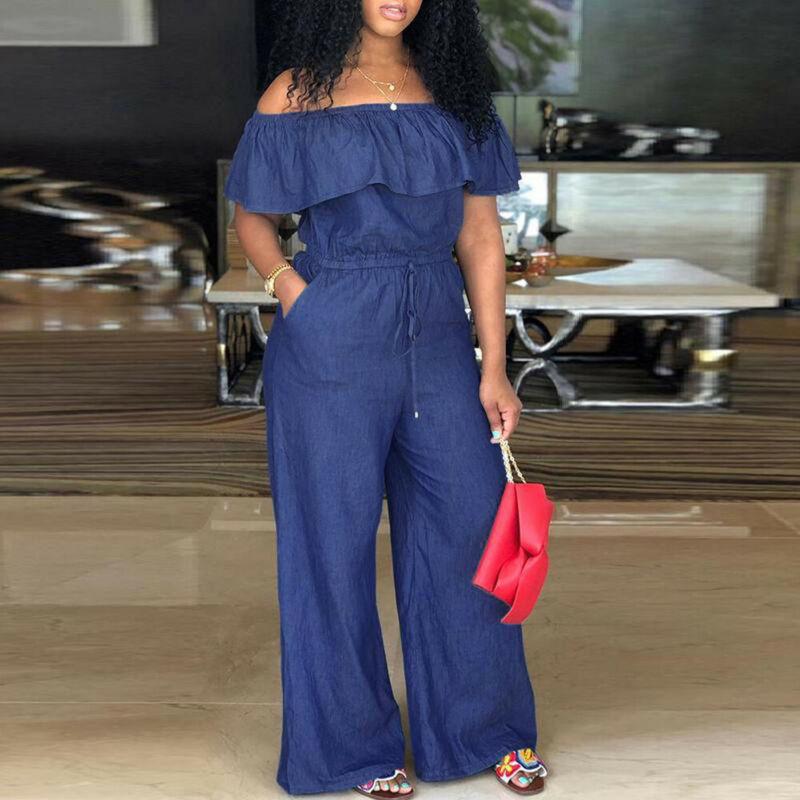 Women Blue Jumpsuit Off Shoulder Long Romper Jumpsuit Bodysuit Trousers Overall Wide Leg Trousers 4XL