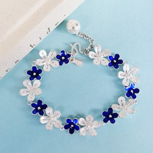 Blue Bangles Cloisonne Enamel Jewelry 999 Sterling Silver Bracelet Women Flowers Hand Chain Chinese Handmade Ethnic Love Bangle cloisonne hand painted enamel color european