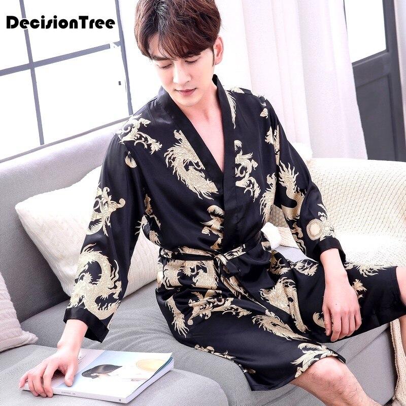 2020 Chinese Men Silk Robe Novelty Traditional Embroidery Dragon Kimono Yukata Bath Gown