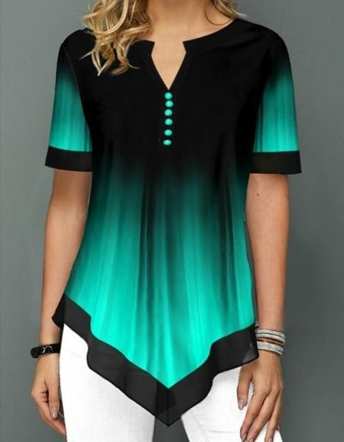 Womens Summer Fashion Printed Blouses Casual Short Sleeved Button Chiffon Shirt Women Plus Size Irregular Loose Shirt Tops 3