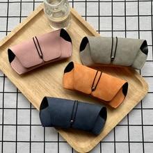 Креативный Чехол для очков с пряжкой, мягкая упаковка, коробка для близорукости, простая Ретро защита от давления, портативная матовая кожа, солнцезащитные очки для хранения