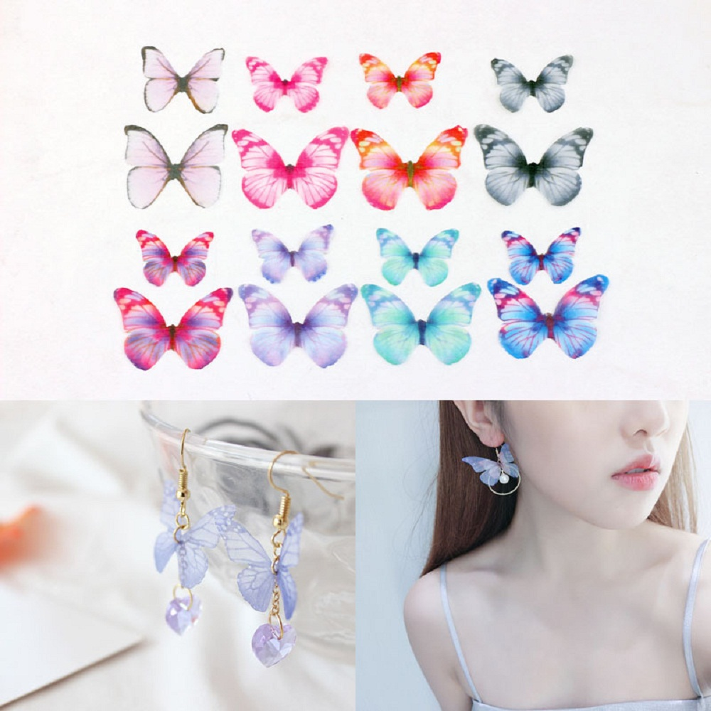 10pcs Plastic Butterfly Wings DIY Earring Material Accessories Hair Jewelrys