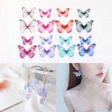 Ailes papillon colorées en mousseline de soie, 10 pièces, pour bricolage, artisanat, boucle d'oreille, collier, accessoires de bandeau faits à la main