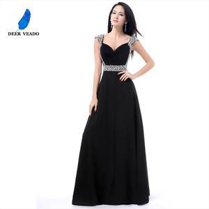 Image 2 - DEERVEADO A Line Cap Sleeve Sweetheart Chiffon Plus Size Long Evening Dress Gown Elegant Formal Dresses Robe De Soiree S321