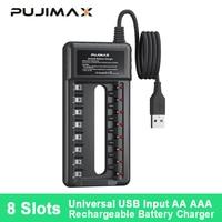 PUJIMAX-Adaptador de cargador de batería con 8 ranuras, indicador LED rápido inteligente, cargador de enchufe USB para baterías recargables AA/AAA Ni-MH/ni-cd