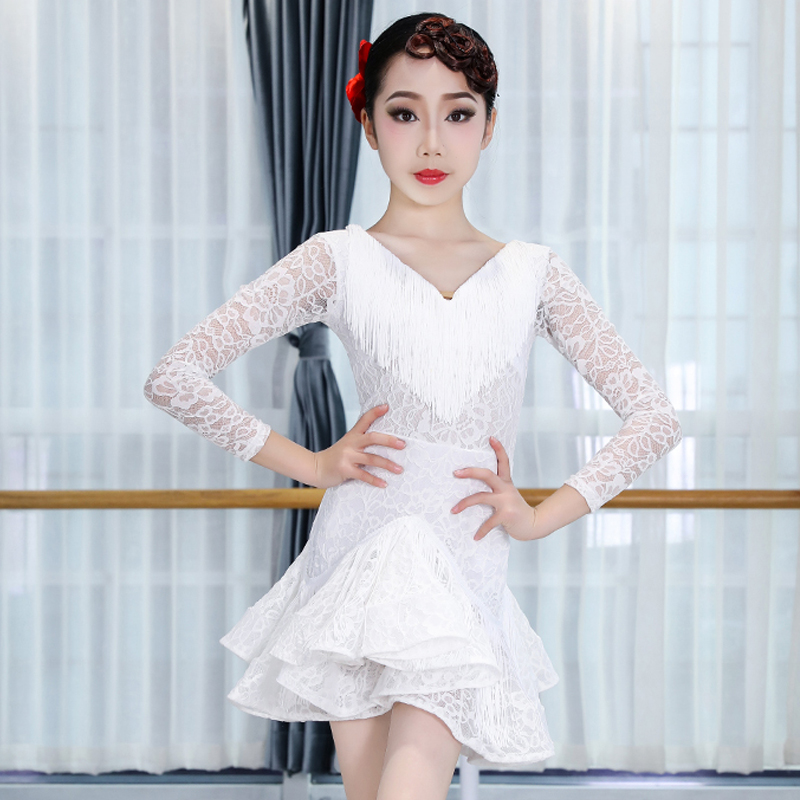 Girls Latin Dance Dress V-Neck Fringe Dress White Lace Skirts Children Practice Clothes Competition Costumes Kid Stage Wear 3442