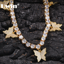 UWIN Women Hiphop Bling Bling Iced Out CZ Tennis Chain 1 Row Butterfly Necklaces Luxury Gold Color Chain Fashion Jewelry