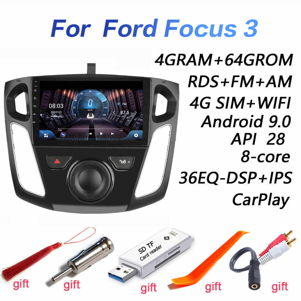 4G + 64G DSP 2 Din Android 9.0 4G NET Mobil Radio Pemutar Video Multimedia untuk Ford fokus 3 2012 2013 2014 2015 WiFi BT Carplay
