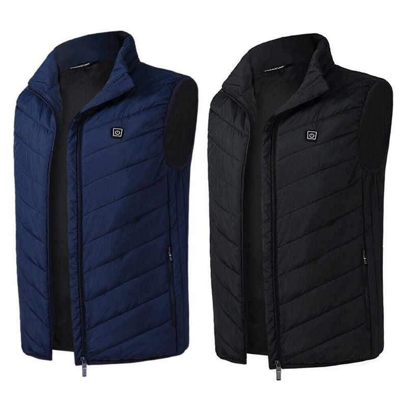 Elektrische Verwarmde Vest Mannen Mouwloze Vest Jas Usb Thermische Kleding Winter Verwarming Jasje Mannelijke Verwarmde Vest M-4XL