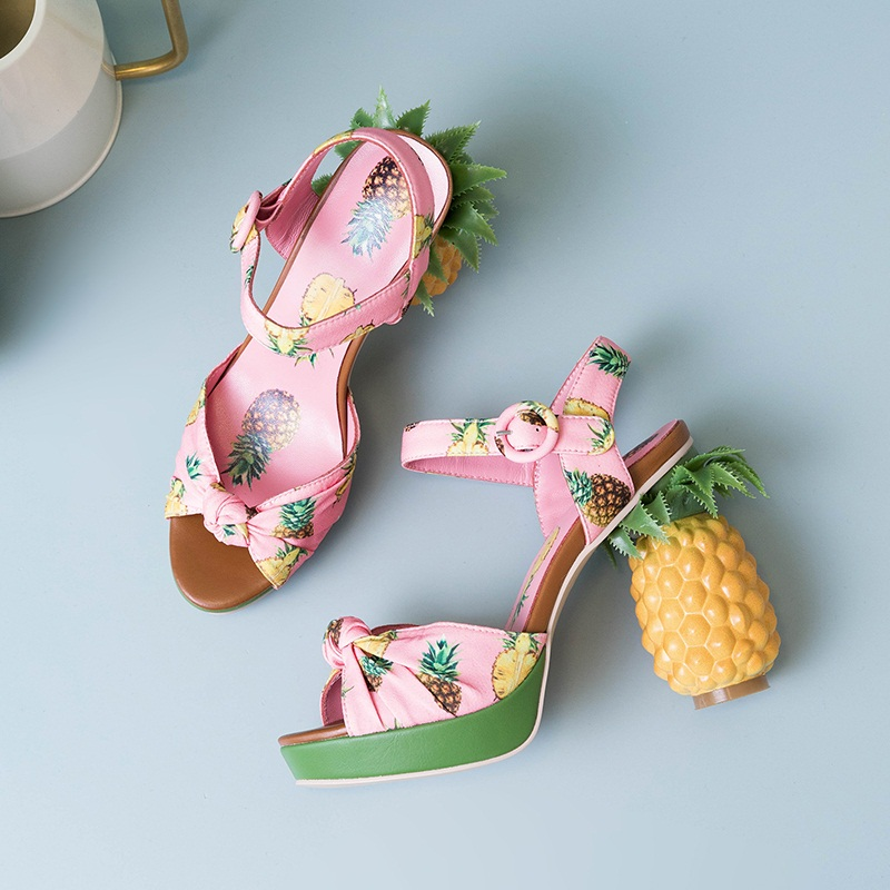 Novelty Pineapple Heel 12cm Pumps Genuine Leather Summer Shoes Women Sexy Open Toe Sandals Lady Girl Party Date Platform Sandals